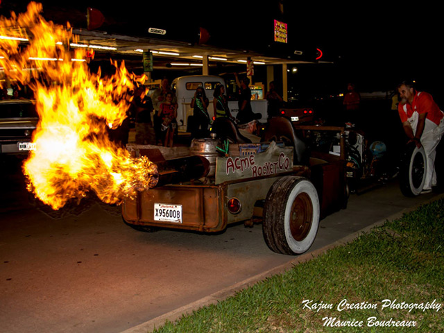 Rat rod with flame at Sonic